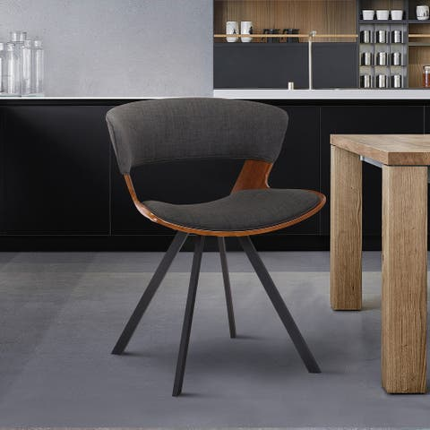 Ulric Wood and Metal Modern Dining Room Accent Chair