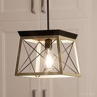 "Luxury Industrial Chic Pendant Light, 9""H x 10""W, with Modern Farmhouse Style, Charcoal  Finish by Urban Ambiance"
