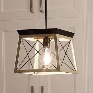 """Luxury Industrial Chic Pendant Light, 9""""H x 10""""W, with Modern Farmhouse Style, Charcoal Finish by Urban Ambiance"""