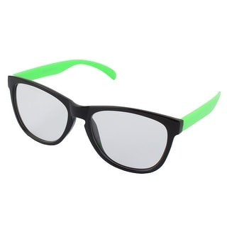 Classic Plastic Clear Lens Oversize Black Full Frame Green Arms Sunglass
