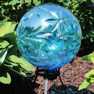 Sunnydaze Blue Glass Garden Outdoor Gazing Ball Globe with Flowers - 10-Inch