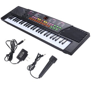 Costway 54 Keys Music Electronic Keyboard Kid Electric Piano Organ W/Mic & Adapter - Black