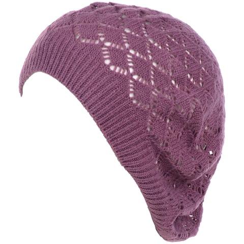 Lightweight Cut Out Knit Beanie Beret Cap Crochet Hat