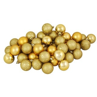 "96ct Vegas Gold Shatterproof 4-Finish Christmas Ball Ornaments 1.5"" (40mm)"