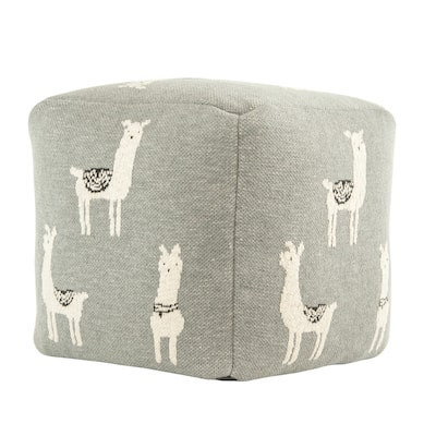 Grey Cotton Knit Pouf with White Llama Images