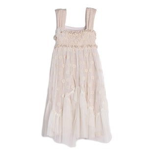 Isobella & Chloe Girls Taupe Strap Empire Waist Lace Tulle Dress