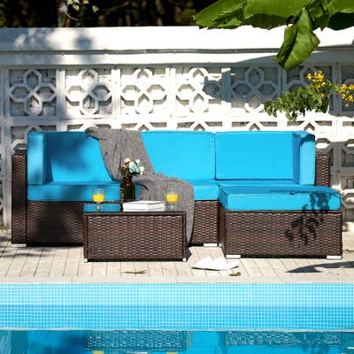 CO-Z 5 Pcs Outdoor Patio Furniture Set, Sectional Sofa, Table