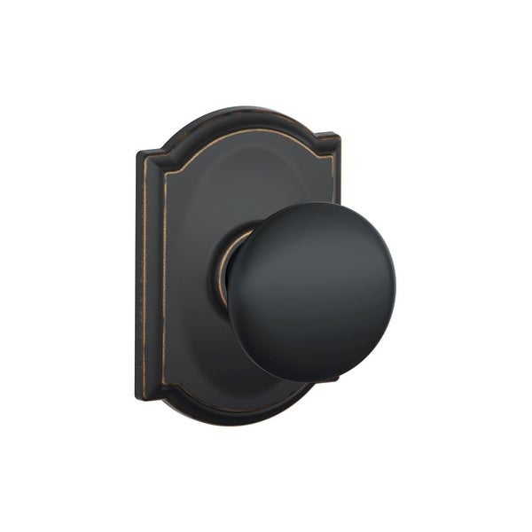 Schlage F10-PLY-CAM Passage Plymouth Door Knobset with the Decorative Camelot Rose - N/A