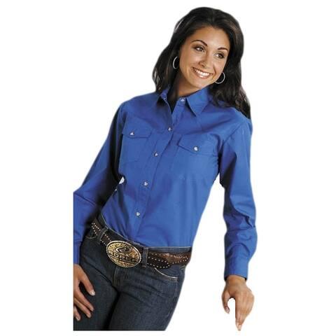 Roper Western Shirt Womens L/S Snap Solid Royal