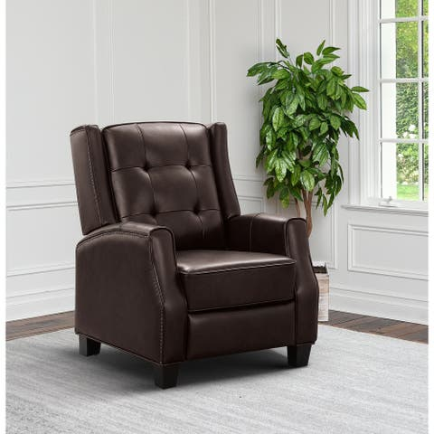 Abbyson Wiley Top Grain Leather Pushback Recliner