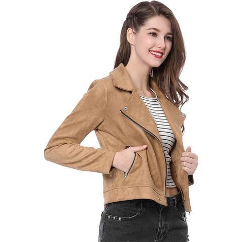 Unique Bargains Women Short Soft Zip Up Faux Suede Biker Moto Jacket