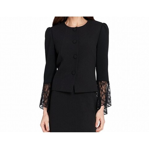 Tahari By ASL Black Womens Size 6 Lace Cuff Soild Crepe Jacket