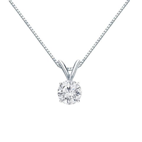 Auriya 14k Gold 1/2ctw Round Solitaire Diamond Necklace