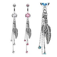 Feather and Chains with CZs Dangle Navel Belly Button Ring 316L Surgical Steel