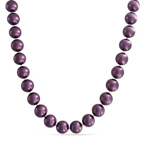 Imitation Pearl Purple Strand Necklace Silver Plated Clasp 10MM