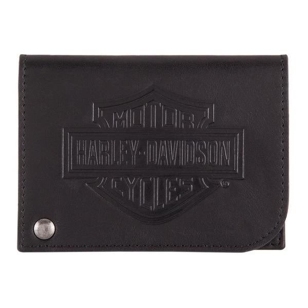 "Harley-Davidson Men's B&S Classic Card Holder Leather RFID Wallet HDMWA11485 - 4.25"" x 3"""