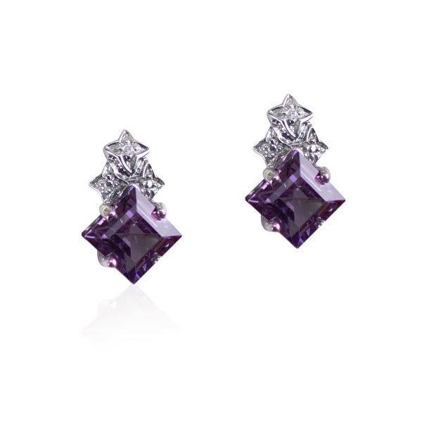 Sterling Silver Lab Created Alexandrite Earrings