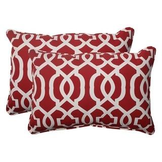 "Set of 2 Moroccan Mosaic Red Outdoor Furniture Rectangular Throw Pillows 24.5"""
