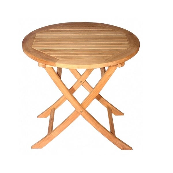 Superb 30 Natural Teak Round Outdoor Patio Wooden Balcony Folding Table Brown Download Free Architecture Designs Lectubocepmadebymaigaardcom
