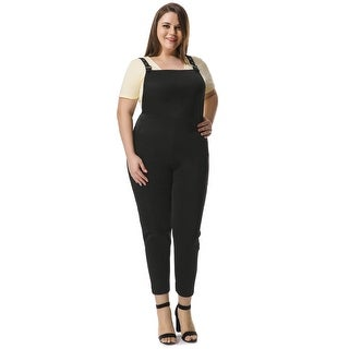 Allegra K Women's Plus Size Pinafore Overalls w Side Pockets - Black