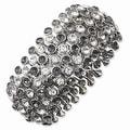 Silvertone Clear & Black Crystals & Acrylic Stones Stretch Bracelet - Thumbnail 0