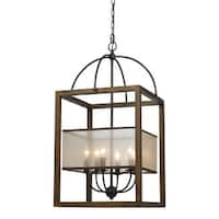 Cal Lighting FX-3536/6L Mission 6 Light Chandelier with Organza Shade