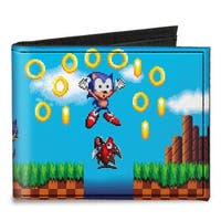 Sonic Pixelated Run Game Over Fall Scene2 Canvas Bi Fold Wallet One Size - One Size Fits most