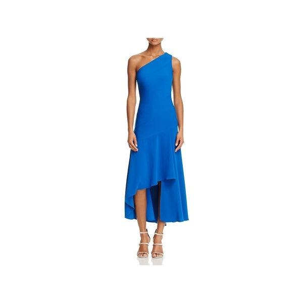 Carmen Marc Valvo Womens Evening Dress One Shoulder Asymmetric ...