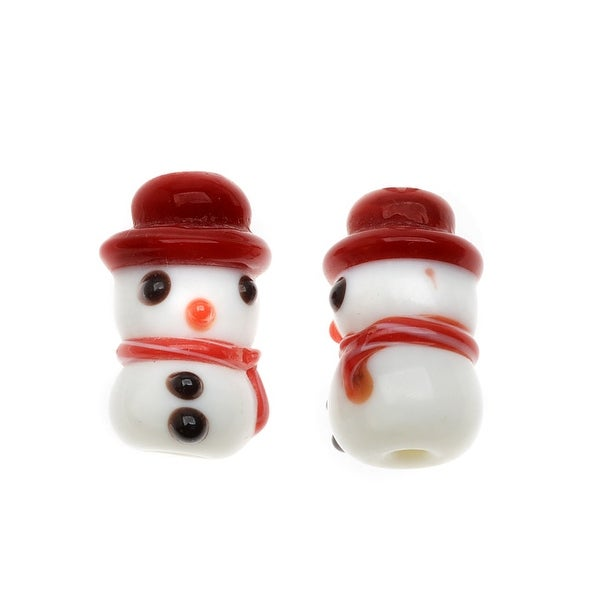 Lampwork Glass Novelty Christmas Beads, Snowman with Scarf 19.5mm, 2 Pieces, Red and White