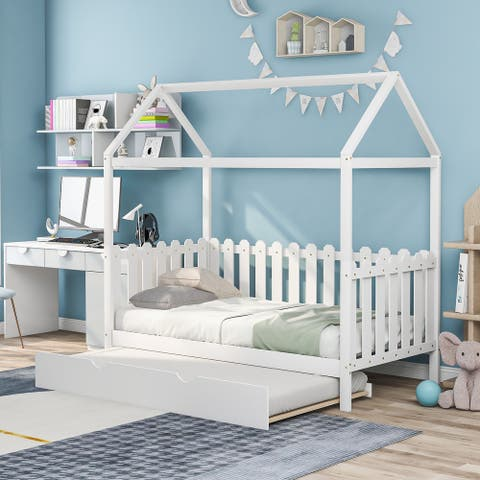 Twin Size House Bed with trundle, Fence-shaped Guardrail