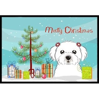 Carolines Treasures BB1580MAT Christmas Tree & Maltese Indoor or Outdoor Mat 18 x 27