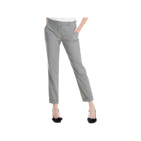 Max Studio London Womens Dress Pants Houndstooth Straight Leg