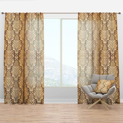Designart 'Damask pattern' Mid-Century Modern Curtain Panel