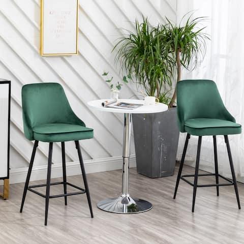 Zainab Premium Velvet Upholstered Contemporary Dining Bar Stools (Set of 2 )