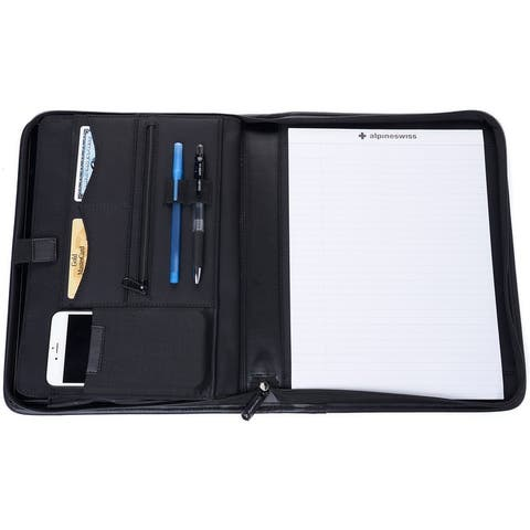 Alpine Swiss Zippered Writing Pad Business Organizer Portfolio with Tablet Sleeve Left & Right Handed - One Size