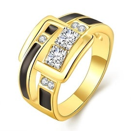 Gold Plated Onyx Belt Buckle Band Ring