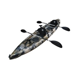 12.5 Foot Sit On Top Tandem Fishing Kayak w/ Paddles & Seats - Green Camo