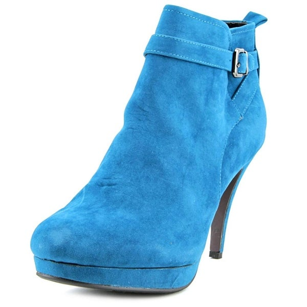 Beacon Laura Women W Round Toe Canvas Blue Ankle Boot