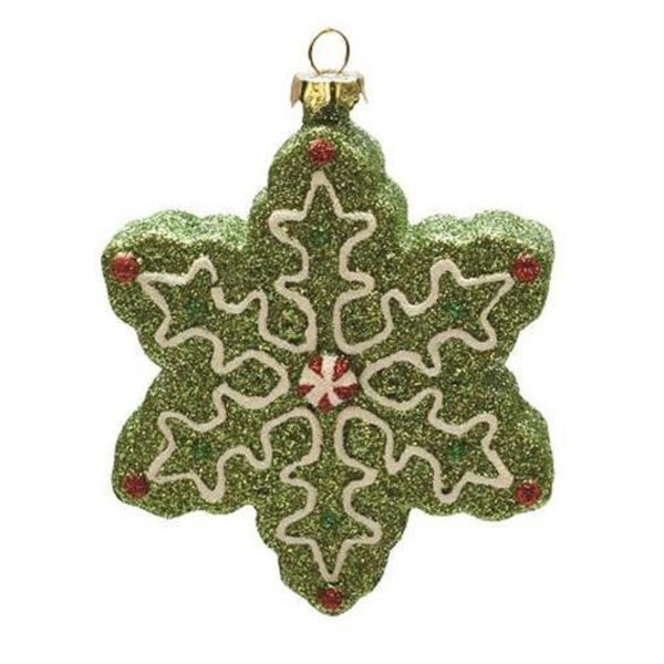 "4"" Merry & Bright Green, White and Red Glitter Shatterproof Snowflake Christmas Ornament"