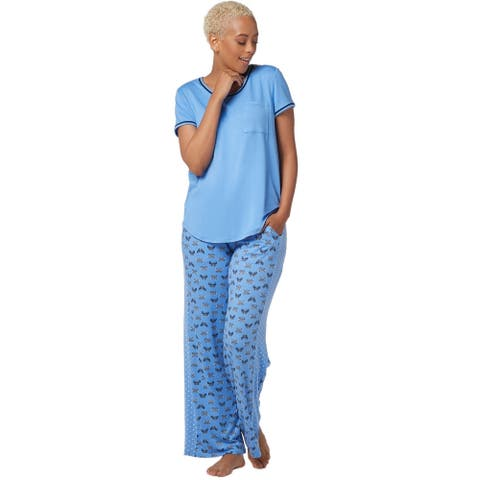 Cuddl Duds Womens Cool & Airy Color- Block PJ Pajama Set Petite L Blue A349591