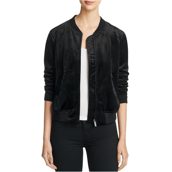 Sanctuary Clothing Womens Velvet Bomber Jacket, Black, Large. Opens flyout.