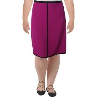 Kasper Womens Plus Straight Skirt Crepe Contrast Trim