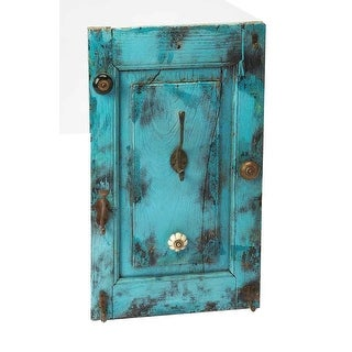 Offex Neely Distressed Rustic Blue Wall Mount Hook Rack - Rectangle