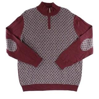 Tasso Elba NEW Red Mens Size Medium M 1/2 Zip Diamond Patch Sweater