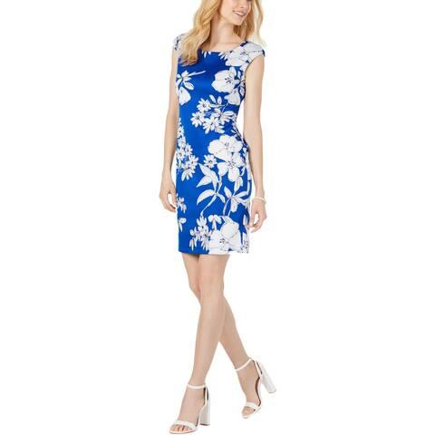 Connected Apparel Womens Scuba Dress Floral Sleeveless - Royal - 10