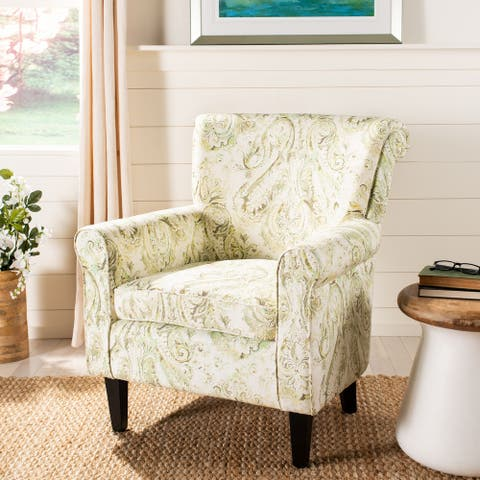 "Safavieh Hazina Green Printed Paisley Rolled Back Club Chair - 30"" x 32.8"" x 35.4"""
