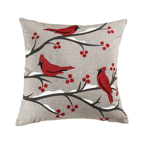 Red Cardinals with Red Berries and Snow in the Branches Throw 24x24-inch Pillow Cover Only Chateau
