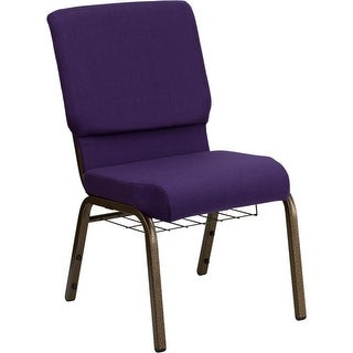 """Offex 18.5"""" Wide Royal Purple Fabric Church Chair with 4.25"""" Thick Seat, Communion Cup Book Rack - Gold Vein Frame"""