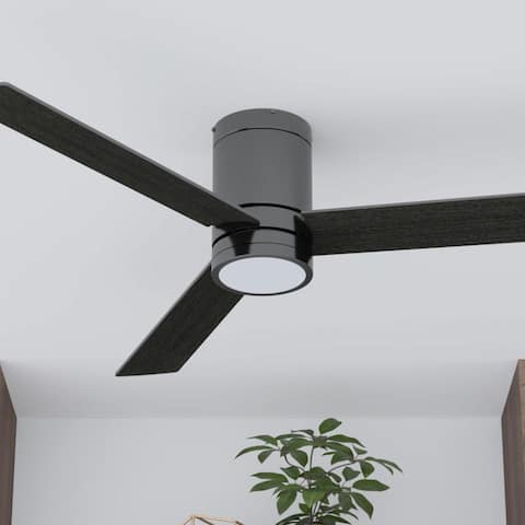 "52"" Prominence Home Espy Modern Hugger/Low Profile Ceiling Fan with Remote, Gun Metal - 52"