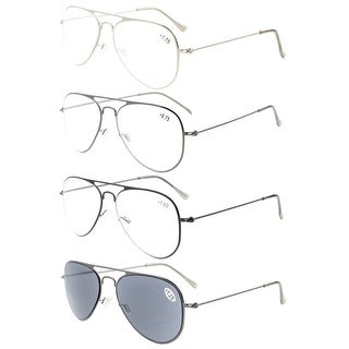 4-pack Eyekepper Stainless Steel Frame Pilot Style Reading Glasses include Sun Readers +2.0